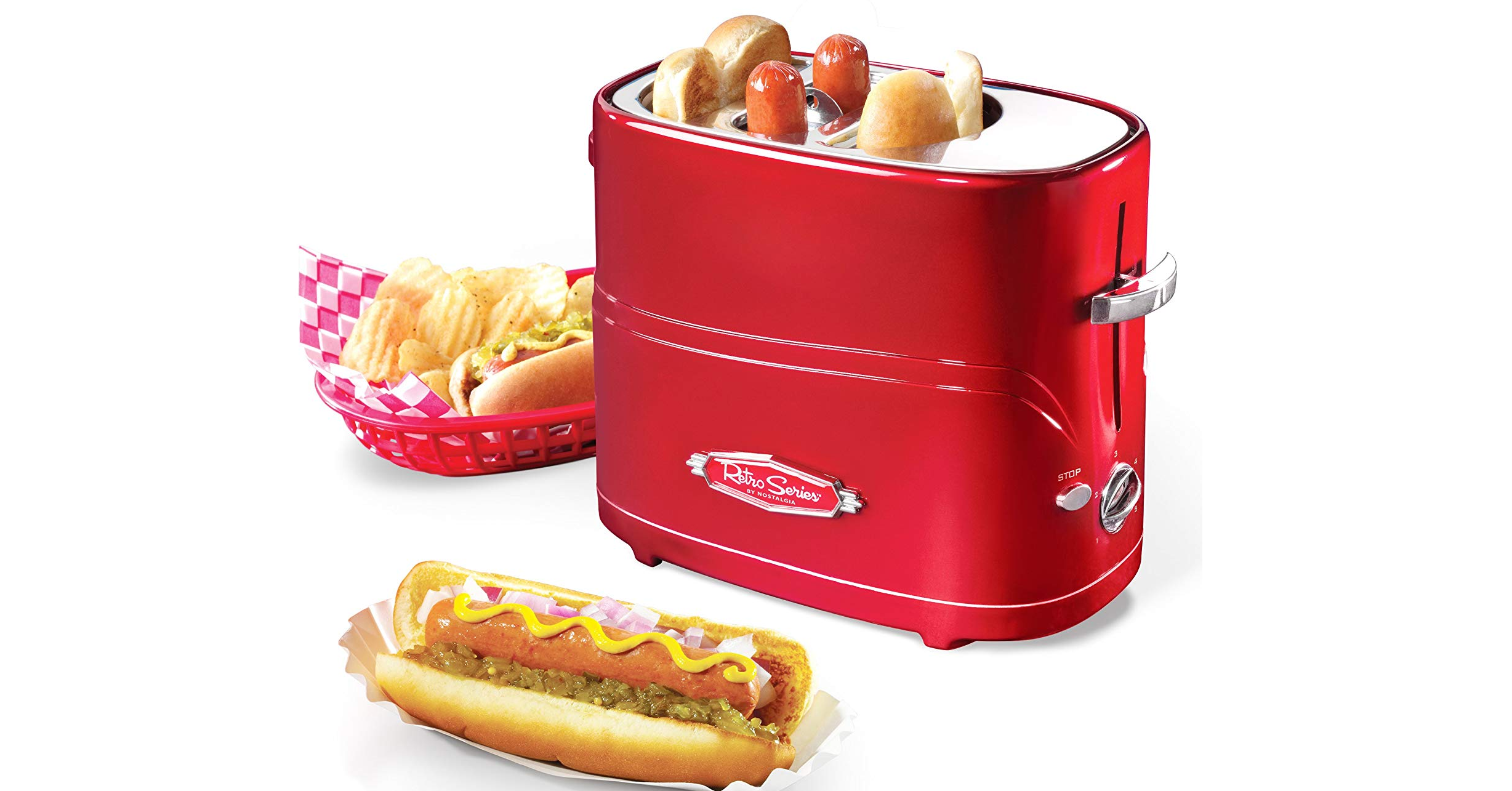 Hot dog, Toaster, Toast, Nostalgia, Cooking, Grilling, Kitchen, Bun, Nostalgia TCS2 Grilled Cheese Sandwich Toaster, Hot dog stand, hot dog toaster, Fast food, Junk food, Food, French fries, Toaster, Kids' meal, Cuisine, Dish, Fried food, American food