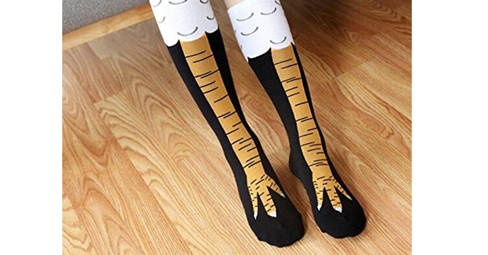 Sock, Knee highs, Moxy socks Girl's chicken Legs knee-high fitness novelty socks, Chicken feet, Chicken, Chicken, Stocking, Chicken Thighs, Foot, Leg, chicken feet socks, Footwear, Wooden spoon, Wood, Shoe, Fashion accessory