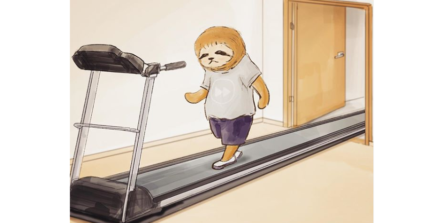Sloth, Illustration, Illustrator, , Manga, Photography, Anime, Film, Cartoon, Animal, shoulder, Treadmill, Cartoon, Child, Illustration