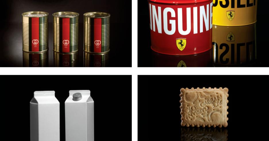 照片中提到了NGUIN、121、CE GABBANA,跟法拉利有關,包含了餐飲、意大利麵條、包裝和標籤、設計、鹹鴨蛋