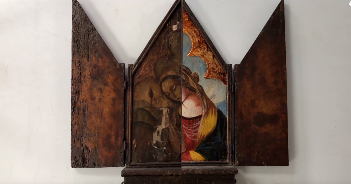 照片中包含了ave maria繪畫、鮑姆加特納美術的恢復和保存、繪畫、克里蒂奧斯男孩、藝術