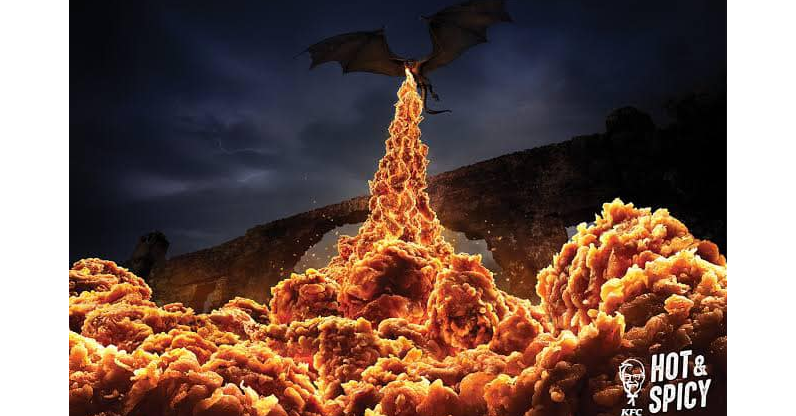 Game of Thrones, Advertising, Ogilvy & Mather, Hong Kong, Television show, Fried chicken, KFC, , , Heat, Ogilvy, heat, Sky, Geological phenomenon, Heat, Rock, Font, Cloud, Event, Photography, Flame, Night