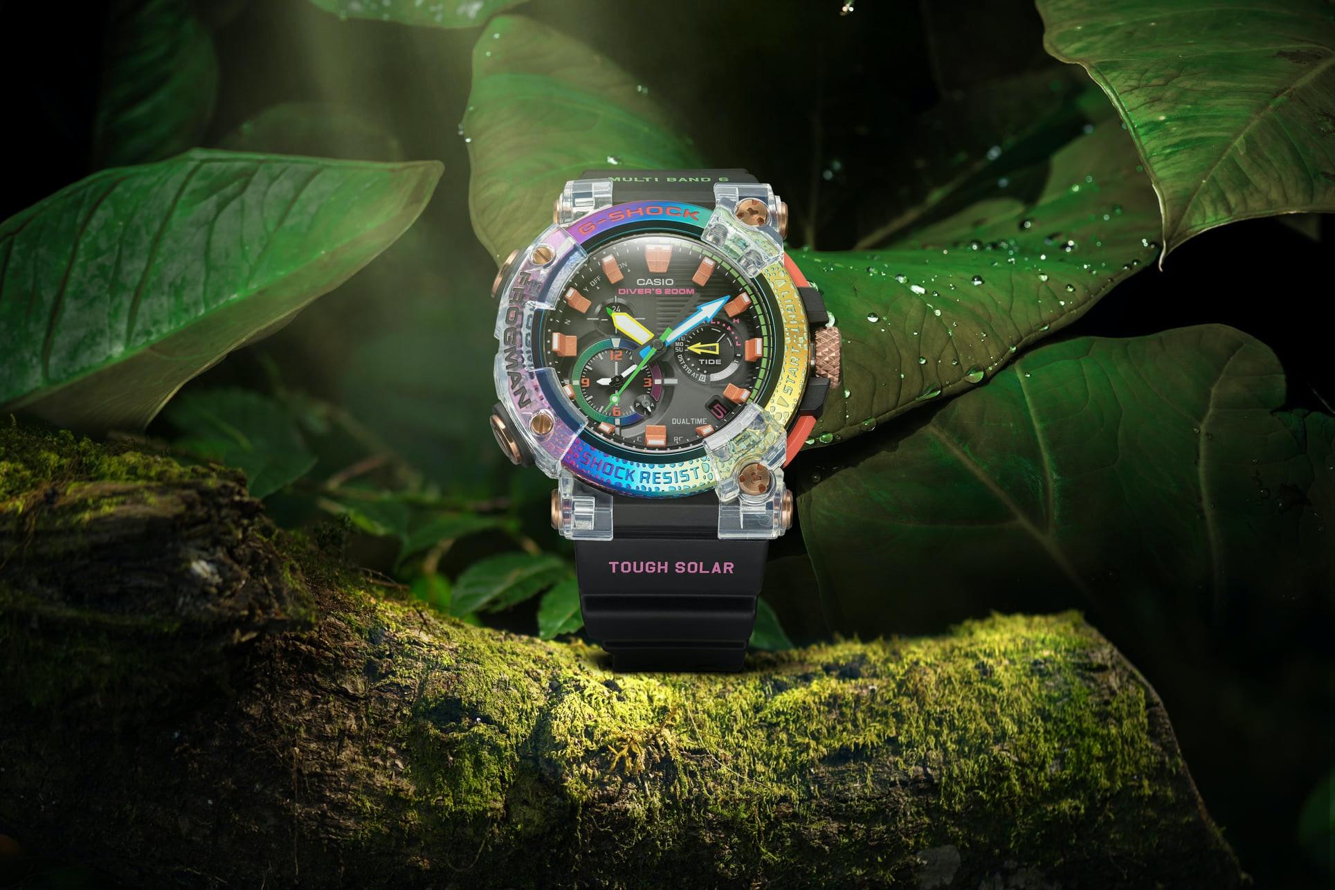照片中提到了MUL TI、BAN D、SHOCK,包含了看、G打擊、看、蘋果手錶系列5、智能手錶