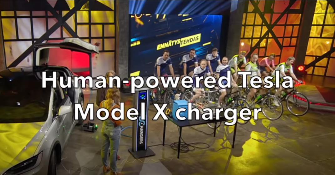 照片中提到了ENNÄTYSTEHDAS、Human-powered Tesla、Model X charger,包含了顯示裝置、特斯拉公司、特斯拉Model 3、特斯拉Model S、特斯拉Model X