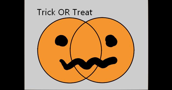 照片中提到了Trick OR Treat,跟沃爾夫漢普頓流浪者有關,包含了微笑、邏輯連接詞、邏輯、獨家或、命題演算