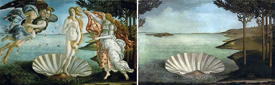 照片中包含了botticelli金星的誕生、金星的誕生、烏菲茲美術館、再生、Primavera
