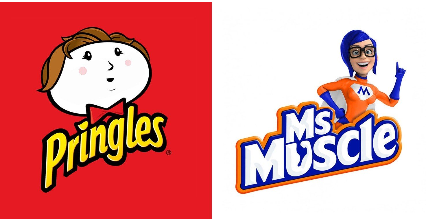 照片中提到了Pringles、Ms、Moscle,跟肌肉先生、品客有關,包含了肌肉先生、插圖、商標、海報、剪貼畫