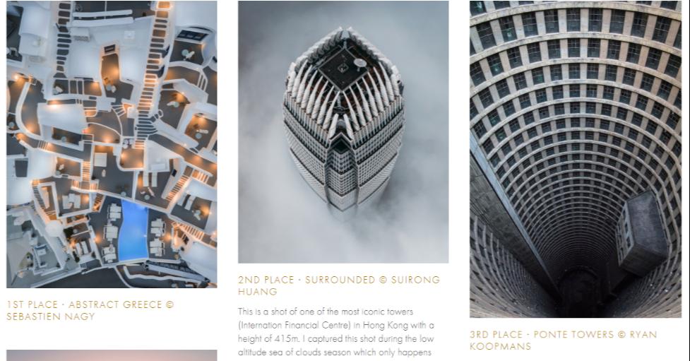 照片中提到了2ND PLACE - SURROUNDED © SUIRONG、HUANG、1ST PLACE - ABSTRACT GREECE O,包含了建築、建築、產品設計、設計、牌