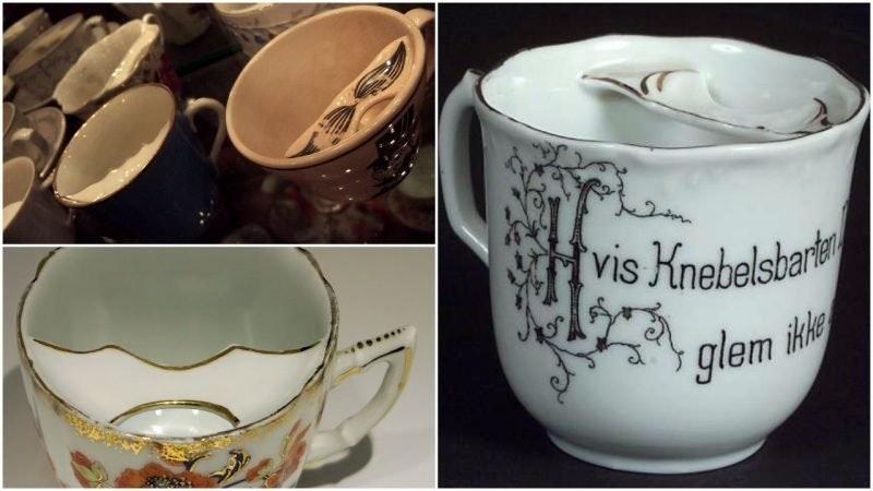 照片中提到了vis Knebelsbark、ikke,包含了小鬍子杯、杯、小鬍子杯、維多利亞時代、杯子