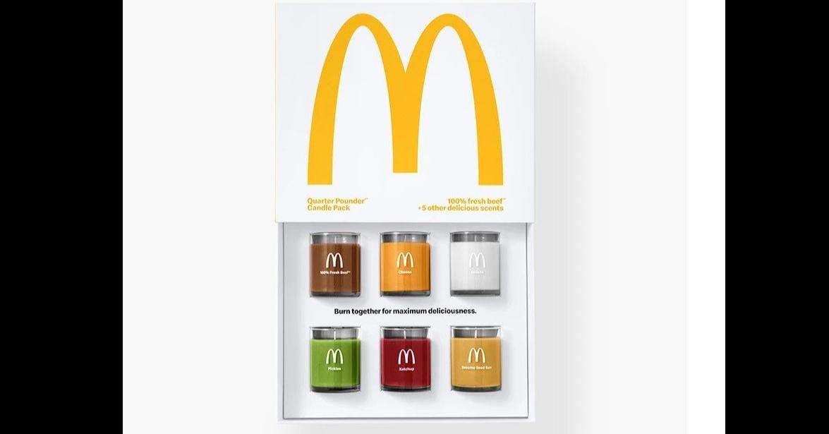 """照片中提到了Quarter Pounder""""、Candle Pack、100% fresh beef,跟麥當勞有關,包含了平面設計、麥當勞四分之一磅、設計、推銷"""