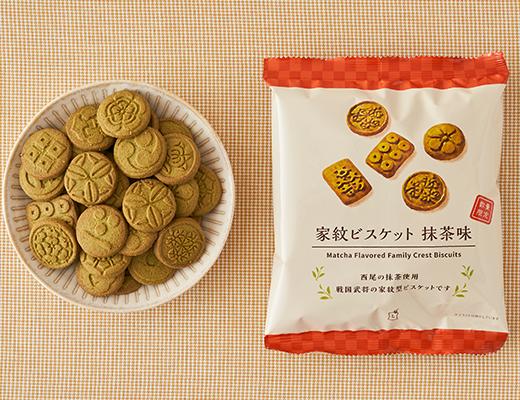 照片中提到了家紋ビスケット 抹味茶味、Matcha Flavored Family Crest Biscuits,包含了家紋ビスケット抹茶、抹茶、勞森、戰國時代、餅乾