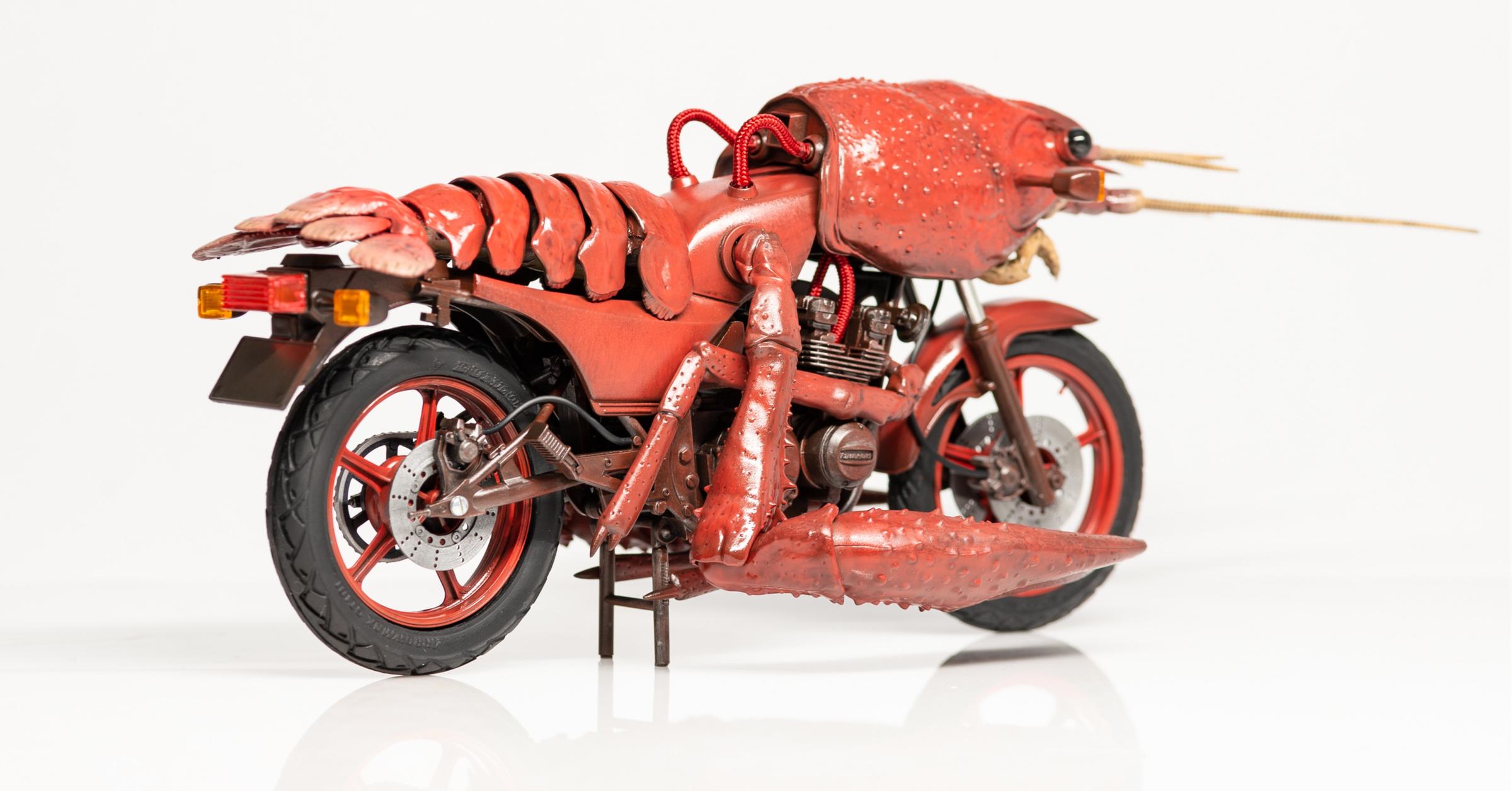 照片中包含了摩托車、藤見桃木、藤見模型小龍蝦紅色編碼塑料模型NO.24、青島文佳共濟、フジミ