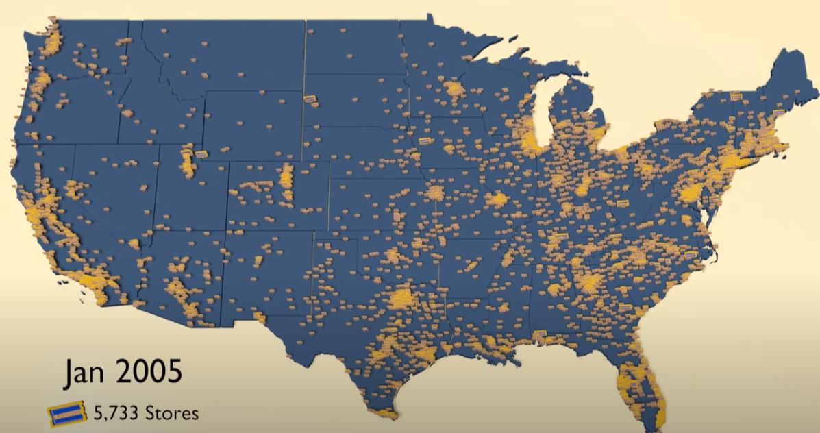 照片中提到了Jan 2005、5,733 Stores,包含了美國內戰地圖、美國、美國南北戰爭、地圖、地形圖