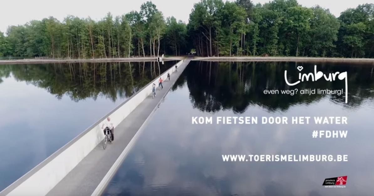 到比利時林堡體驗「自行車摩西」從湖中穿過