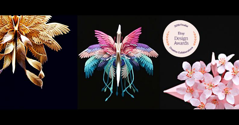 照片中提到了2019 Finalise、Etsy、Design,包含了傳粉者、千紙鶴、折鶴、西雷特、摺紙
