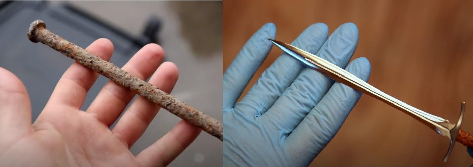 照片中包含了釘、切紙刀、生鏽的釘子、生鏽的釘子、長劍