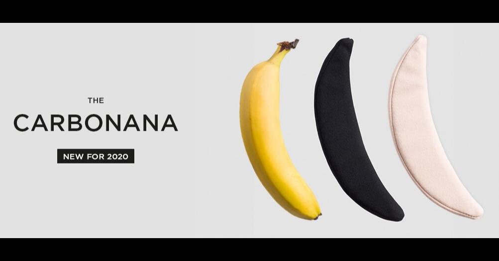 照片中提到了THE、CARBONANA、NEW FOR 2020,包含了白海豹、香蕉、產品設計、產品、設計