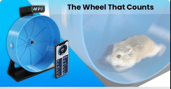 照片中提到了MP8、The Wheel That Counts,跟佛蒙特州信息處理有關,包含了倉鼠、倉鼠、倉鼠輪、類固醇、Kickstarter