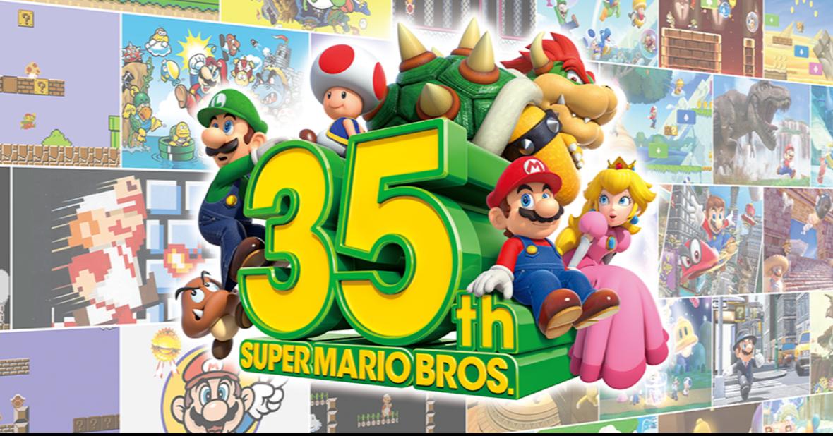 照片中提到了35、SUPER MARIO BROS.、222,跟增強果汁有關,包含了超級馬里奧兄弟3d所有星星、超級馬里奧3D全明星、超級馬里奧3D世界、超級馬里奧兄弟35、超級馬里奧兄弟成立35週年