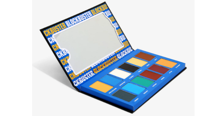 照片中提到了CKBUSTER BLOCKBUSTER BLOCKBU、CK、CK,包含了眼影、產品設計、產品、藝術家調色板、1990年代
