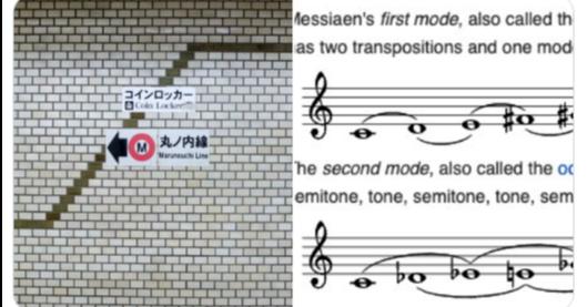 照片中提到了Messiaen's first mode, also called th、as two transpositions and one mod、コインロッカー,包含了音樂、設計、圖案、圖、紙
