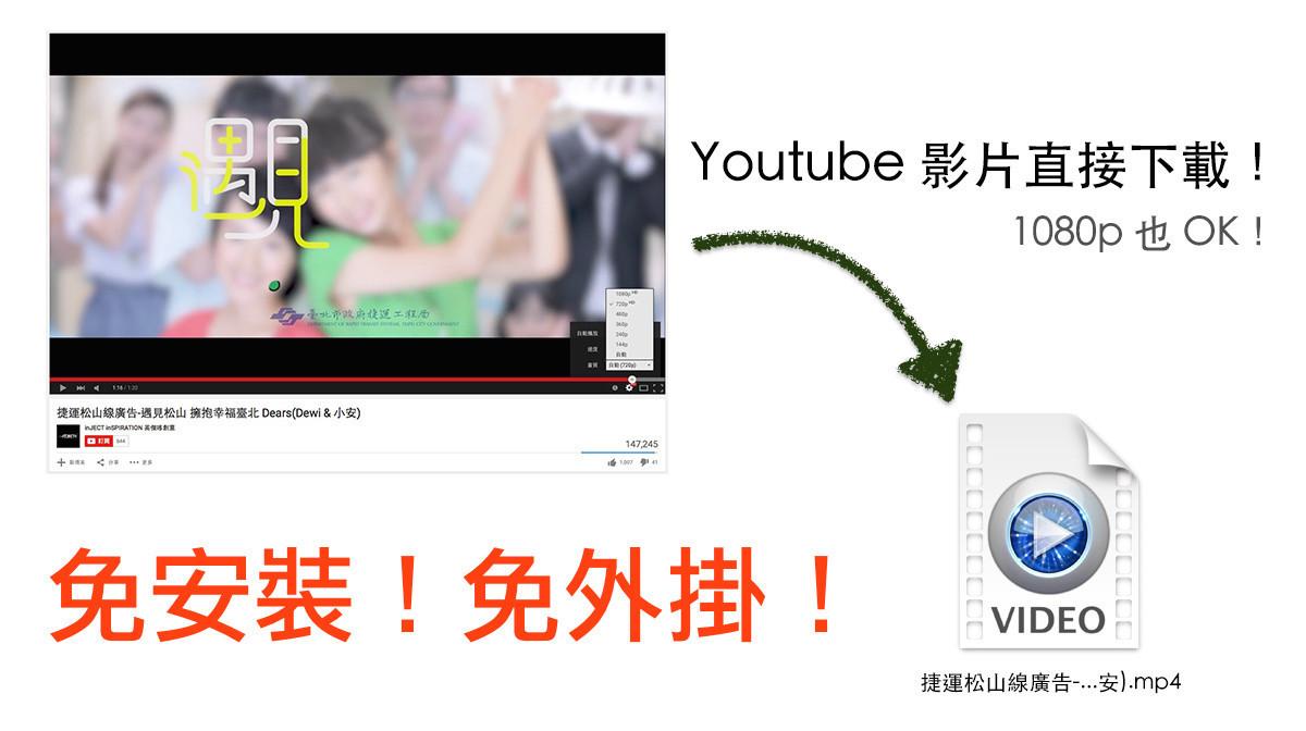是免外掛免安裝!Youtube 影片線上下載,連 1080p 都可以直接下載喔!這篇文章的首圖