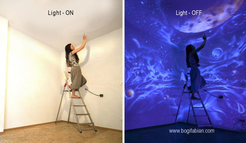 是關燈後馬上進入阿凡達世界!Bogi Fabian 的牆面夜光彩繪這篇文章的首圖