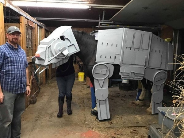Clydesdale horse, All Terrain Armored Transport, Cosplay, Stormtrooper, Star Wars, Costume, Halloween, , stable, Galactic Empire, Horse, vehicle, machine