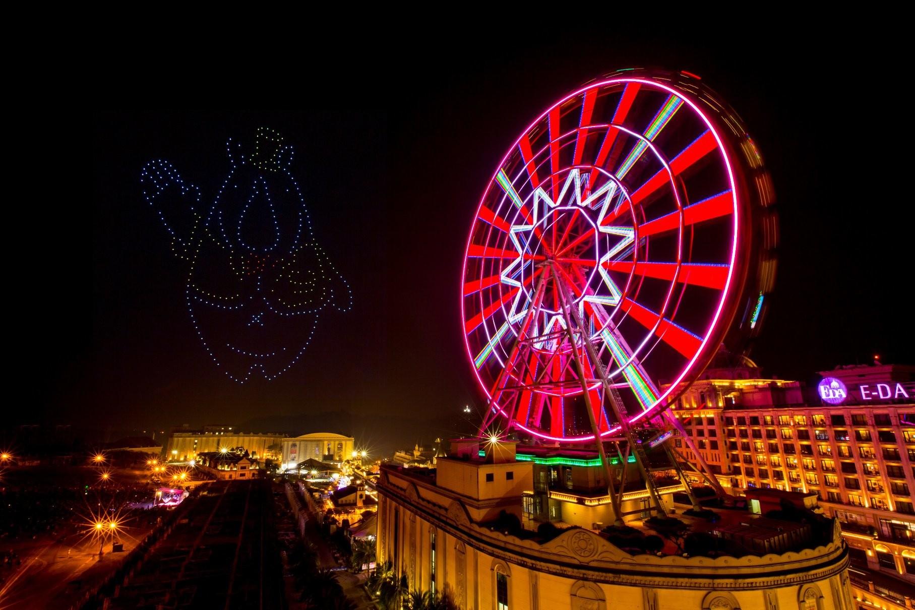 照片中提到了BIA E-DA,包含了摩天輪、E-DA主題公園、除夕夜、摩天輪、煙花