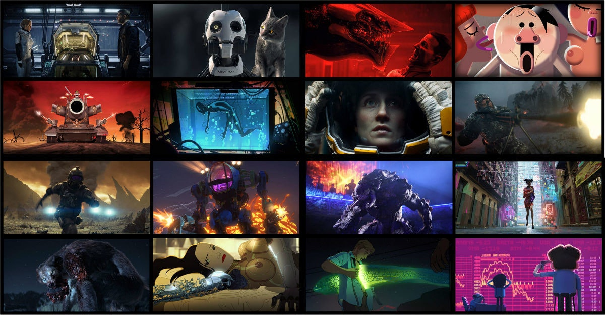 Love, Death & Robots, David Fincher, Anthology series, Film, Animated series, Netflix, , Television show, Film director, Animation, love death and robots, Action-adventure game, Collage, Cg artwork, Art, Digital compositing, Graphic design, Games, Photography, Space, Pc game
