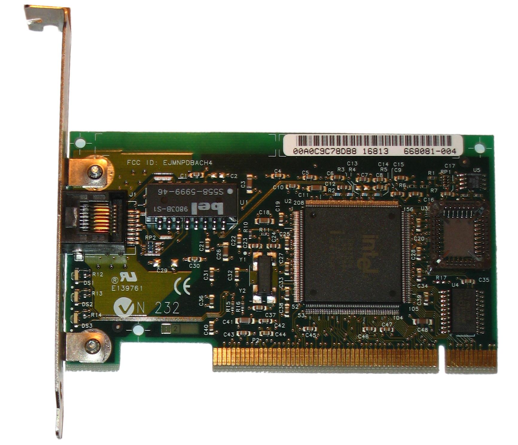 照片中提到了00AOC9C78DB8 16813、668081-004、FCC ID: EJMNPDBACH4,包含了英特爾pro 100、快速以太網、乙太網路、網絡接口控制器、英特爾
