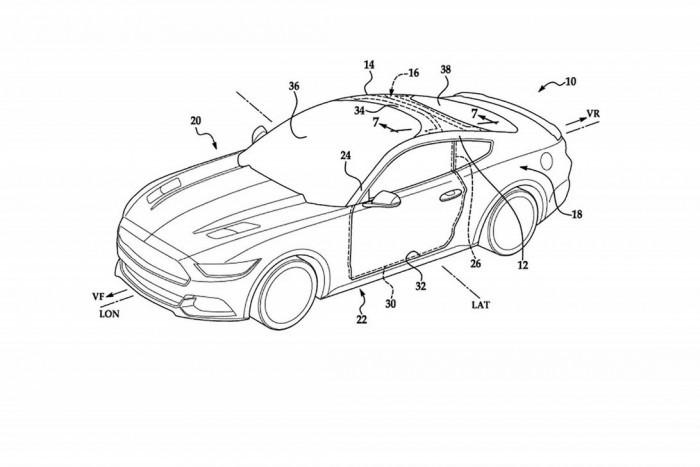照片中提到了14、38、36,包含了福特專利、福特汽車、汽車、福特野馬、擋風玻璃