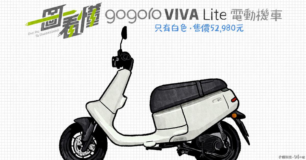 照片中提到了gogoro VIVA Lite Tn、ONE PIC、To UNDERSTAND,包含了汽車、輪、汽車、摩托車、摩托車