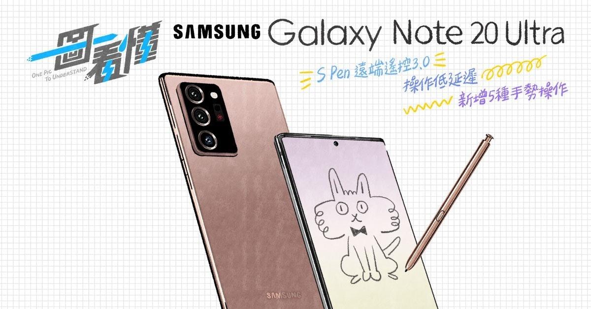 照片中提到了SAMSUNG Galaxy Note 20 Ultra、ONE PIC、To UNDERSTAND,跟新聞集團有關,包含了三星手機、紙、產品設計、設計、角度