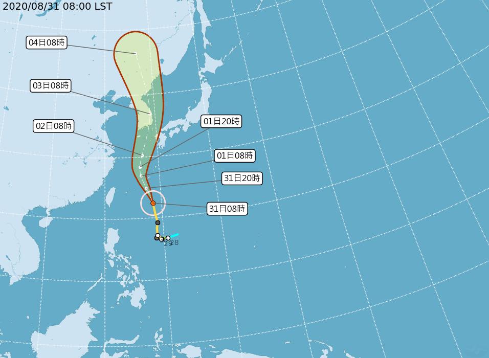 照片中提到了2020/08/31 08:00 LST、|04日08時、|03日08時,包含了颱風路徑、颱風白鹿、颱風江尾、颱風鳳王、颱風