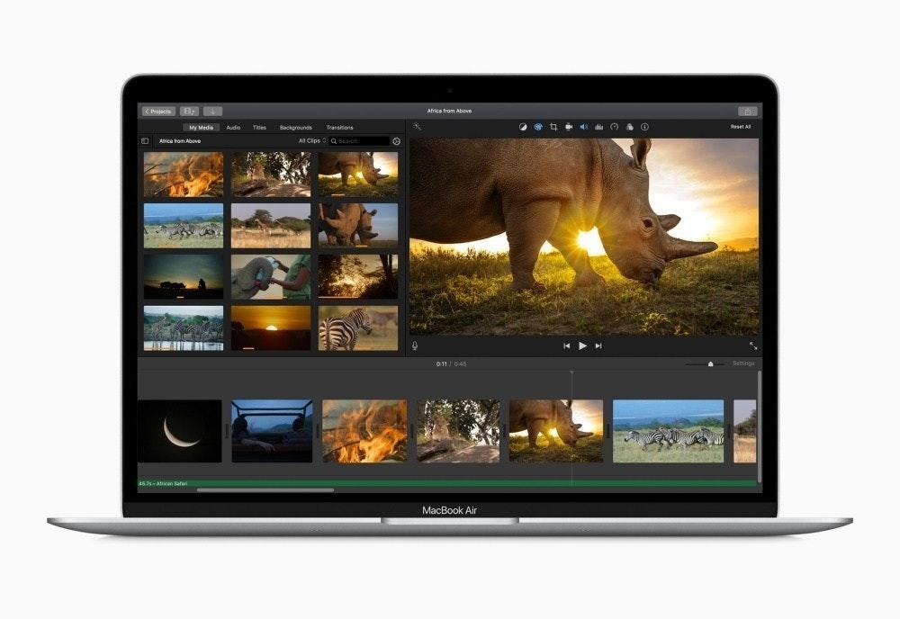 照片中提到了Africa from Above、My Media Audio、Tler,包含了屏幕、MacBook Air、計算機鍵盤、魔術鍵盤、蘋果