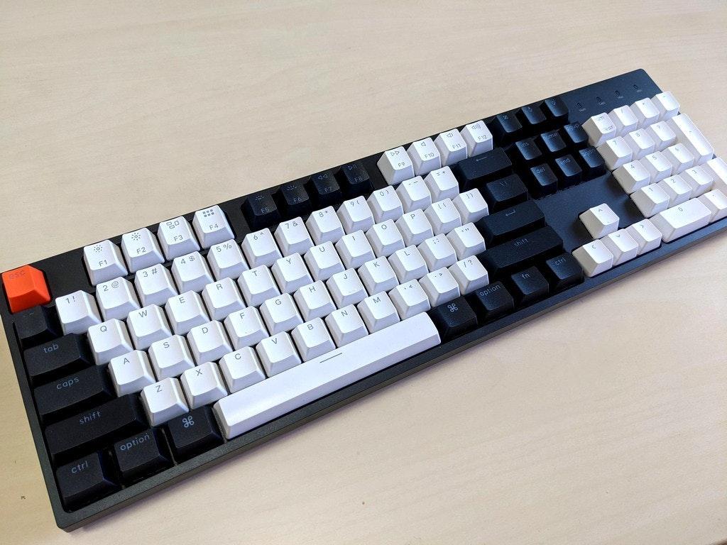 照片中提到了esc、...、F1,包含了空白鍵帽cherry mx、計算機鍵盤、鍵帽、NPKC、櫻桃