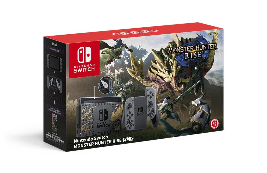 照片中提到了CAPCO、MONSTER HUNTER、RISE,跟任天堂有關,包含了Monster Hutner Rise Pro控制器、怪物獵人崛起、Nintendo Switch Pro控制器、任天堂Switch、超級粉碎兄弟終極版