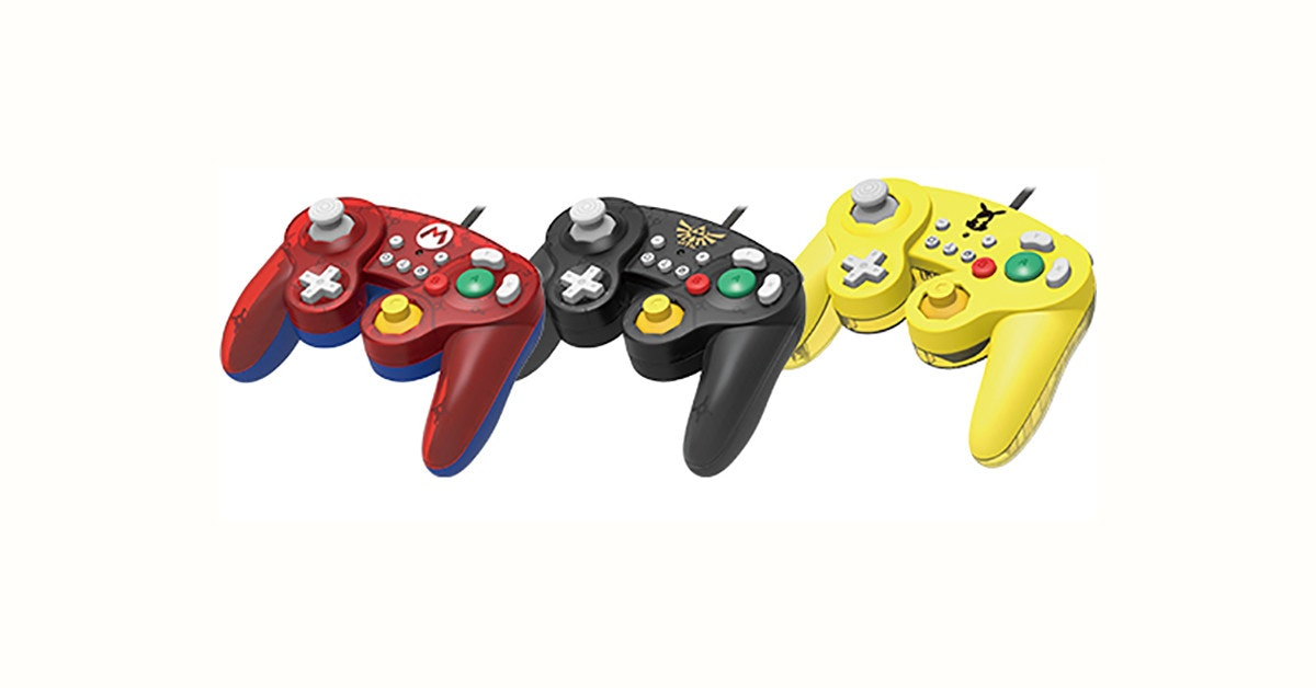 GameCube, GameCube controller, Nintendo Switch, Game Controllers, Faceoff Deluxe Wired Pro Controller for Nintendo Switch, Hori, , Nintendo, Mario Series, The Legend of Zelda, GameCube, home game console accessory, game controller, xbox accessory, all xbox accessory, technology, video game accessory, yellow, playstation accessory, product, joystick