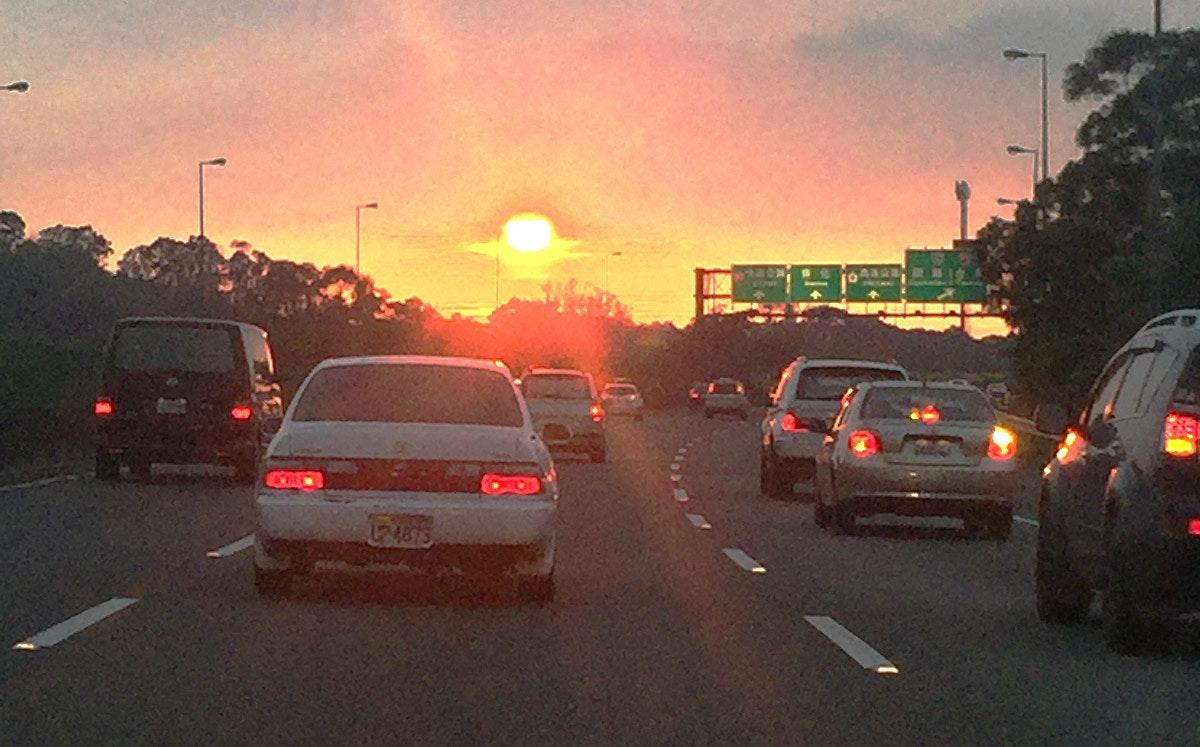 Car, Traffic, Family car, Luxury vehicle, Traffic light, Compact car, City car, Vehicle, , /m/02_41, lane, Sky, Vehicle, Mode of transport, Car, Traffic, Atmospheric phenomenon, Road, Lane, Morning, Sunset