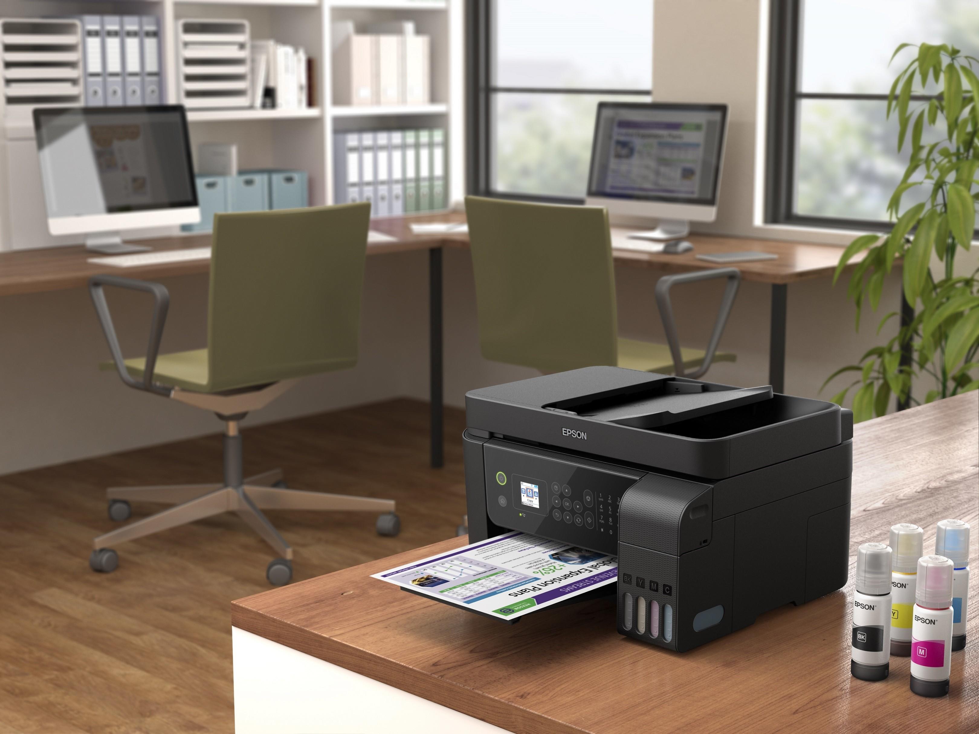 , Desk, Ink, Black, Printer, Inkjet printing, Epson, Desktop Computers, Office Supplies, White, Black, furniture, desk, office, product, personal computer, office supplies, product, desktop computer, table