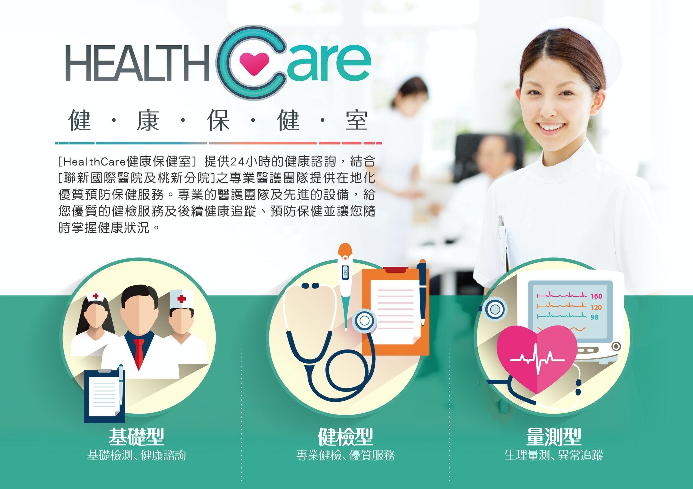 照片中提到了HEALTHCare、健, 康,保,健,室、[HealthCare健康保健室]提供24小時的健康諮詢,結合,包含了教育、衛生保健、健康、凱擘、台灣種子醫院