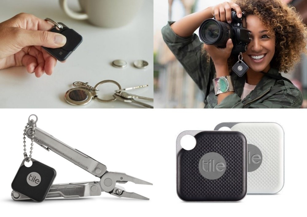 Tile Pro, Tile, GPS Tracker, Key finder, Cell Phone, Bluetooth, Tile Sport Key Finder. Phone Finder. Anything Finder, Mobile app, Tile Slim Phone Finder Wallet Finder, Tile Key Finder. Phone Finder. Anything Finder, Tile Pro, Product, Keychain, Fashion accessory, Technology, Material property, Electronic device, Gadget, Wallet, Leather, Electronics