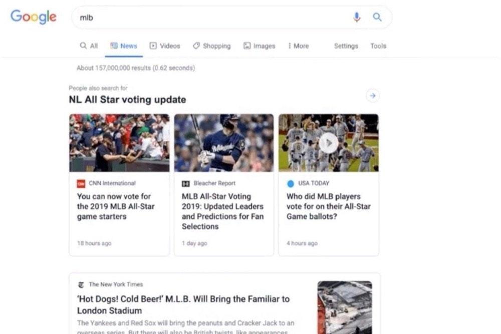 Google News, News, , Google, Google Search, Desktop search, Design, Headline, Material Design, Web search engine, google news tab, Web page, Text, Product, Font, Website, Media, Logo, Screenshot, Technology, Advertising