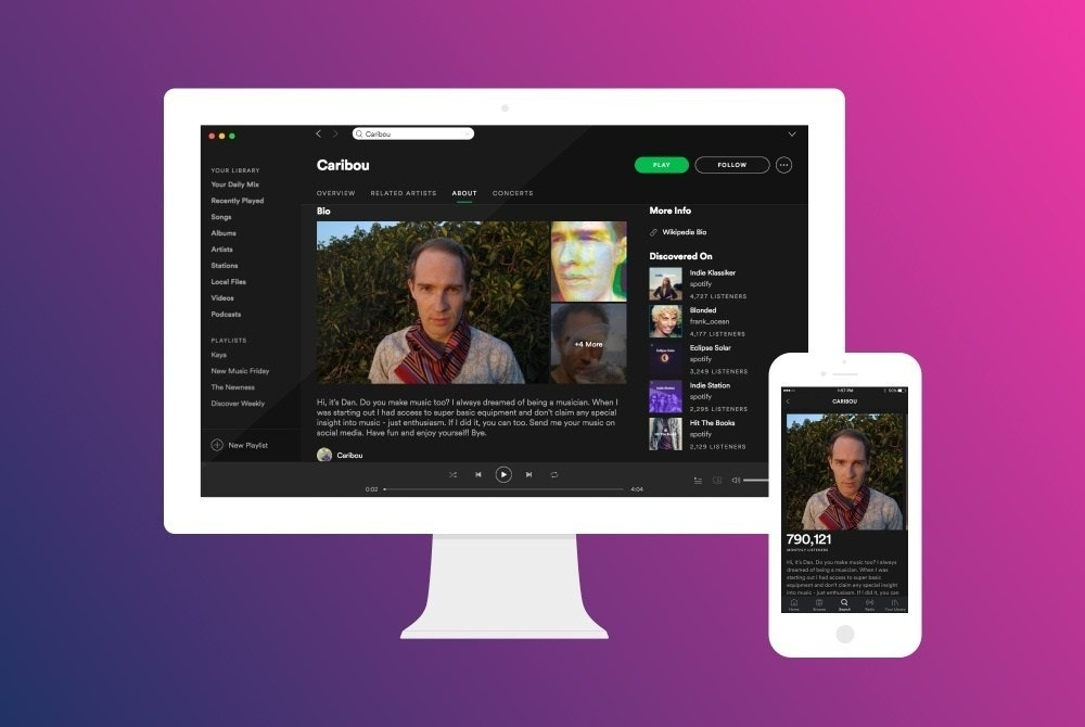 Spotify, , Artist, Music, Dan Snaith, RouteNote, Rihanna, Beyoncé, Art, Playlist, spotify profile, Product, Website, Multimedia, Technology, Electronic device, Design, Font, Screenshot, Display device, Advertising