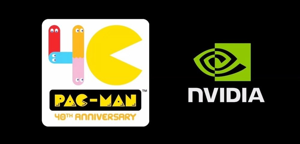 照片中提到了NVIDIA、TM、PAC-MAN,跟英偉達有關,包含了pacman 40años、吃豆人、街機遊戲、萬代南夢宮娛樂、南科