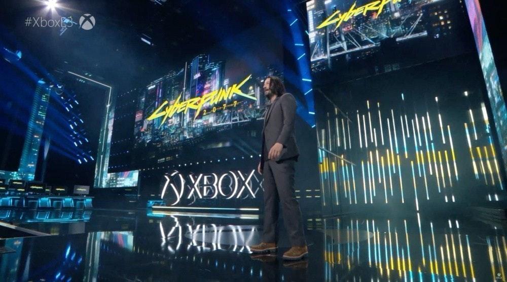照片中提到了#XboxB、OXBOX,跟的Xbox、鏈接校園大學有關,包含了keanu reeves e3 xbox、E3、賽博朋克2077、Xbox One、夢幻之星在線2