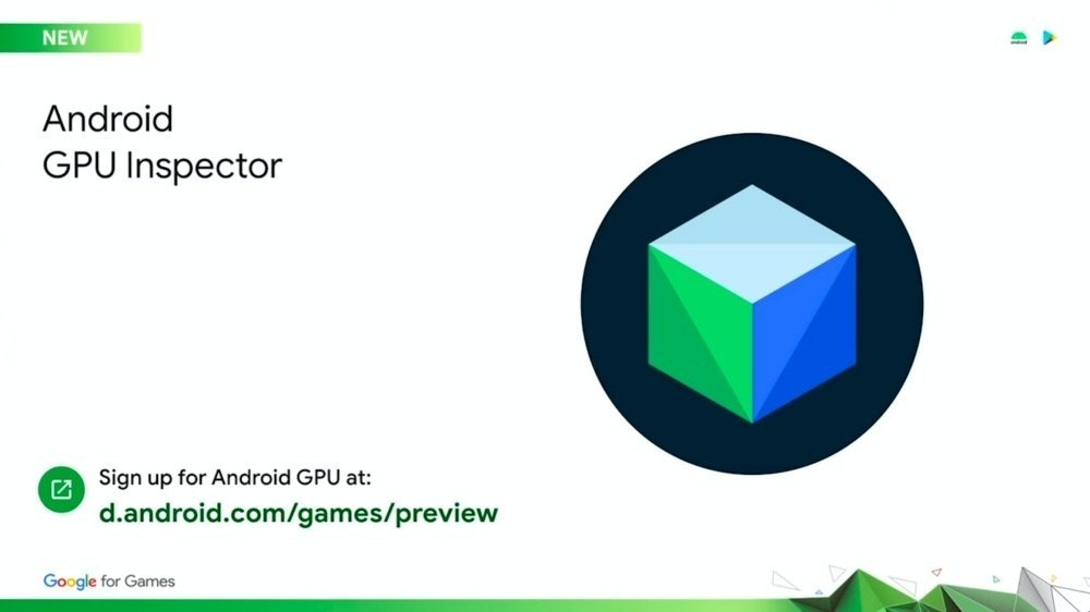 照片中提到了NEW、Android、GPU Inspector,跟時報有關,包含了圖、Google I / O、安卓系統、金魚草865、高通公司