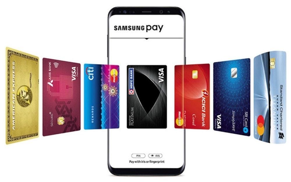 照片中提到了SAMSUNG pay、Pay with iris or fingerprint、Standard Chartered 8,包含了三星支付、三星支付、手機支付、三星、Google Pay