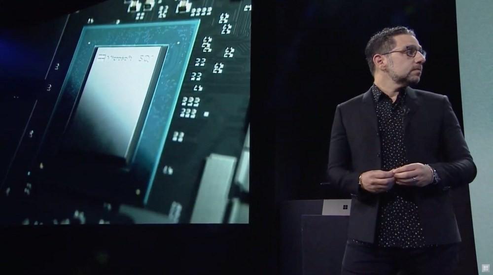照片中提到了コe S0、22、33,包含了公開演講、表面、Surface Pro X、微軟公司、ARM架構
